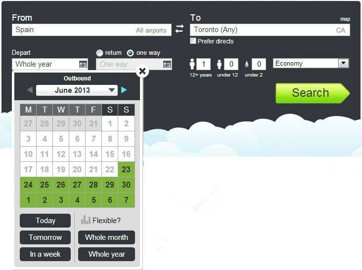 Skyscanner search with a Country departure