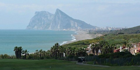 View of Gibraltar across the golf course in Spanish town of Alcaidesa