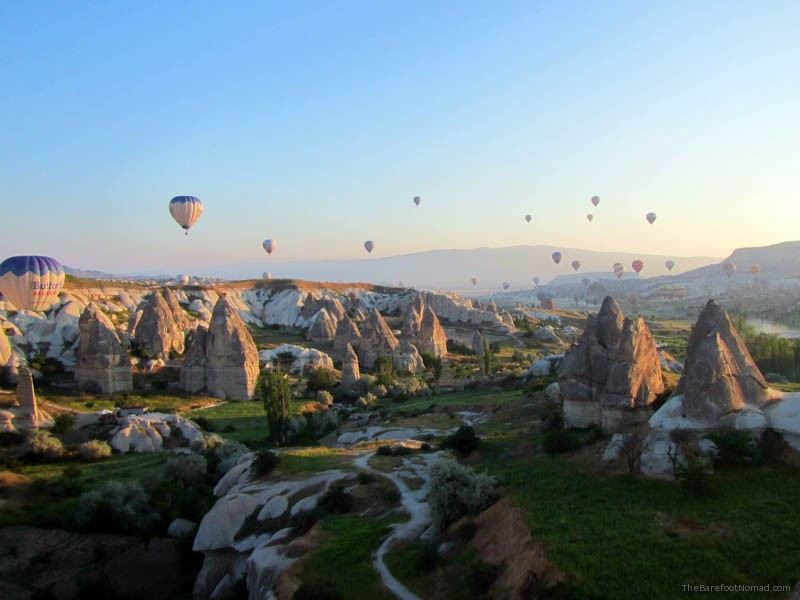 Fairy chimneys from a hot air balloon in Goreme Turkey