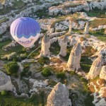 Butterfly Balloon from above Goreme Turkey Cappadocia