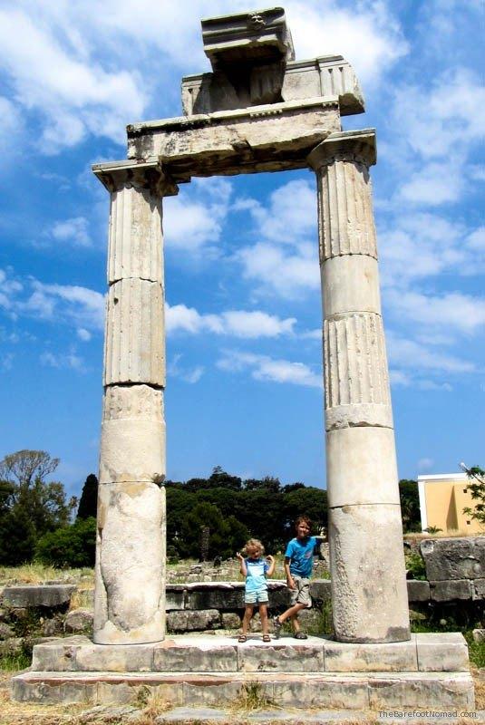 Colums standing precariously and alone at the Agora at Kos Greece