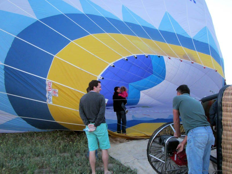Daddy and Jordan inside balloon before lifiting off