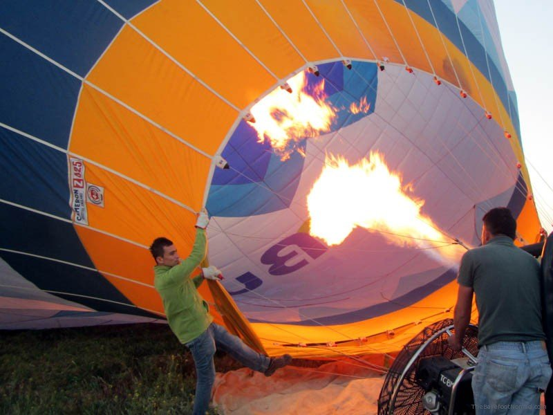 Flame firing before takeoff Cappadocia hot air balloon