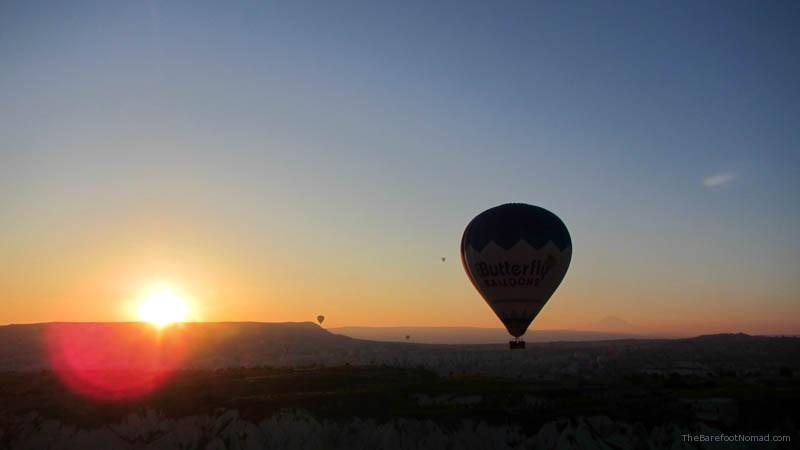 Hot air balloon at sunrise in Cappadocia
