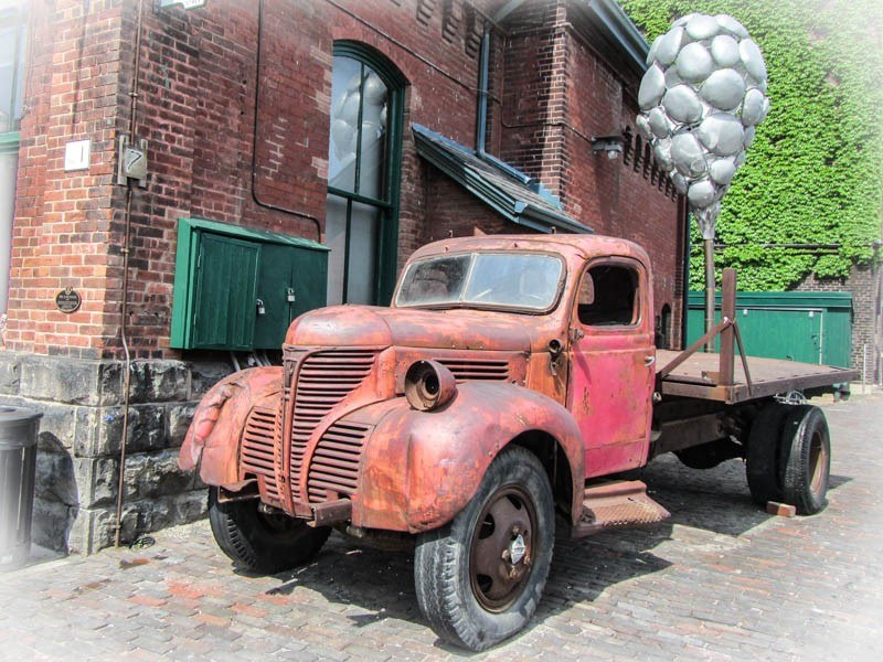 Old truck at the Distillery District in Toronto