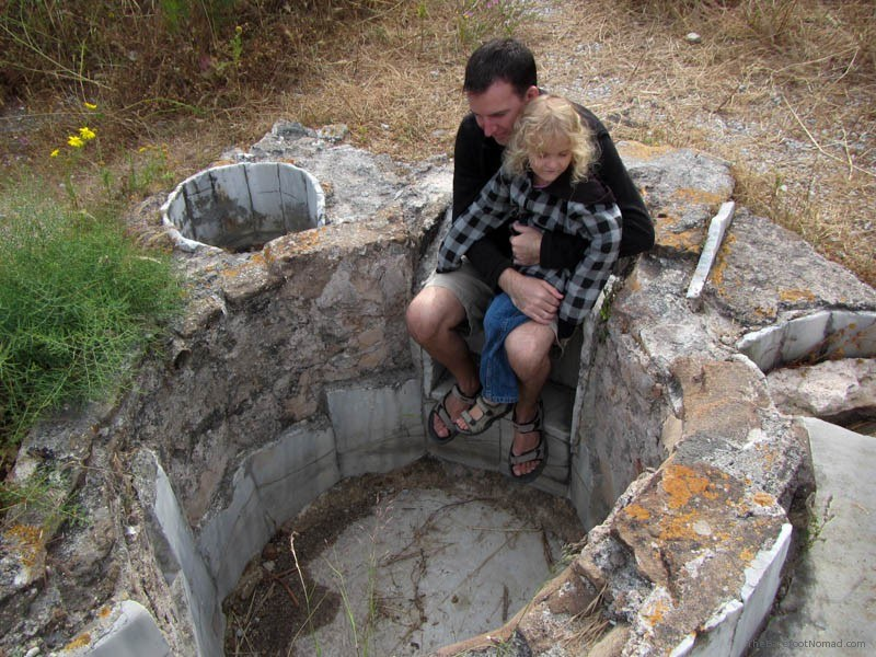 Sitting in an ancient bath at the Western Excavations in Kos Greece hot tub