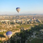 Two hot air balloons over the valley Goreme Turkey