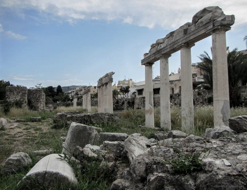 Columns at the Western Excavations Kos Greece