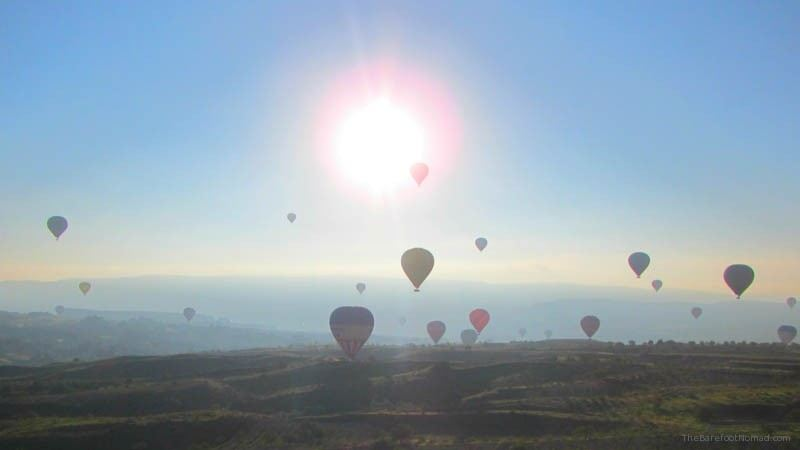 Balloons in the rising sun over Goreme Hot air balloon ride