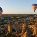 Butterfly Balloons above the fairy chimneys Goreme Turkey Cappadocia