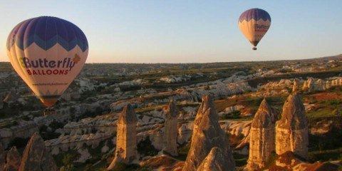Butterfly Balloons above the fairy chimneys Goreme Turkey Cappadocia