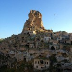 Ortahisar Castle and abandoned cave houses Turkey