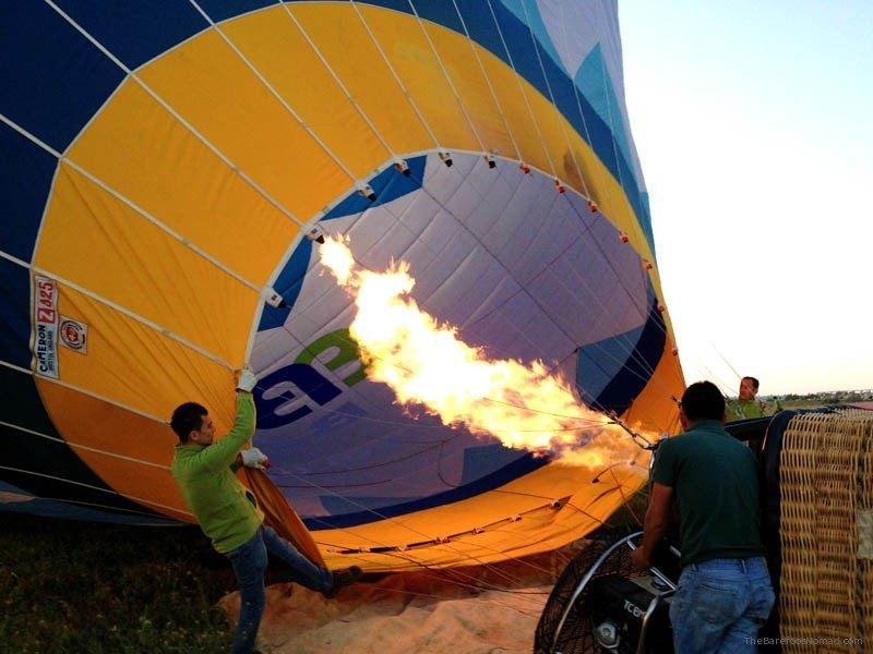 Firing burner to inflate the hot air balloon Cappadocia Turkey