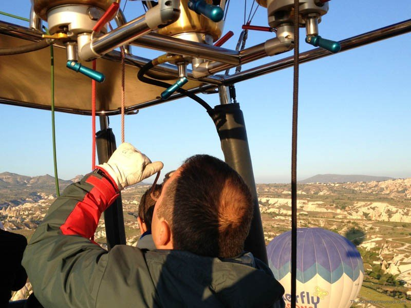 Mustafa from Butterfly Balloons working burners hot air balloon Goreme