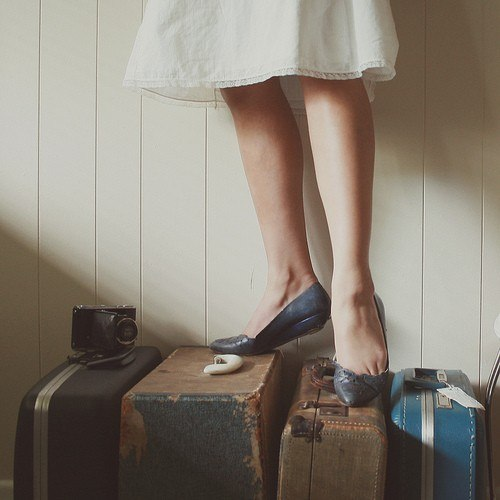 Girl on Suitcases by Hillary Boles