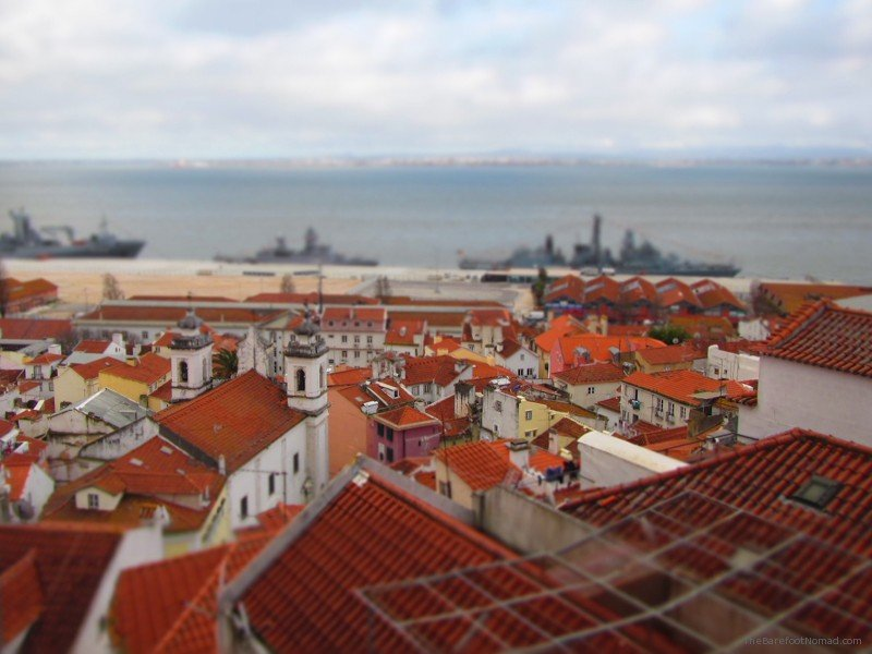 Looking down over the Tagus River, Lisbon, Portugal, red roofs