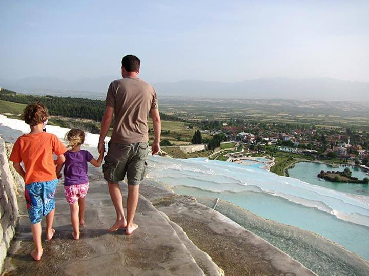 Dad and the kids in Pamukkale, Turkey