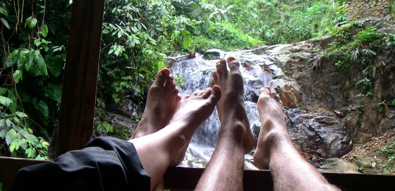 Barefoot Nomads at Waterfall