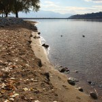 Okanagan lake looking toward the bridge in fall