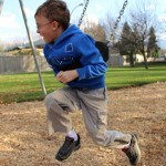 Playing on the swings