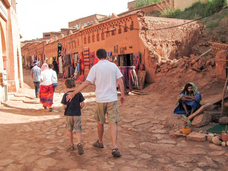 Faher and Son walking down road in Morocco IMG_4777