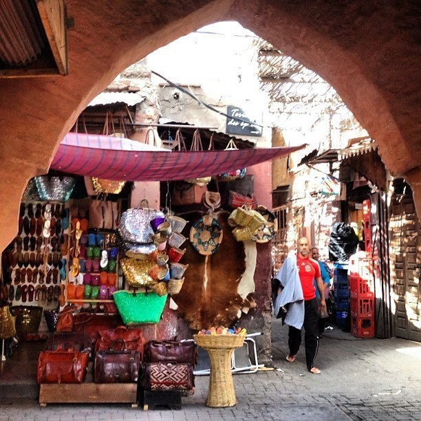 Peeking out into the narrow streets of the old medina in Marrakesh
