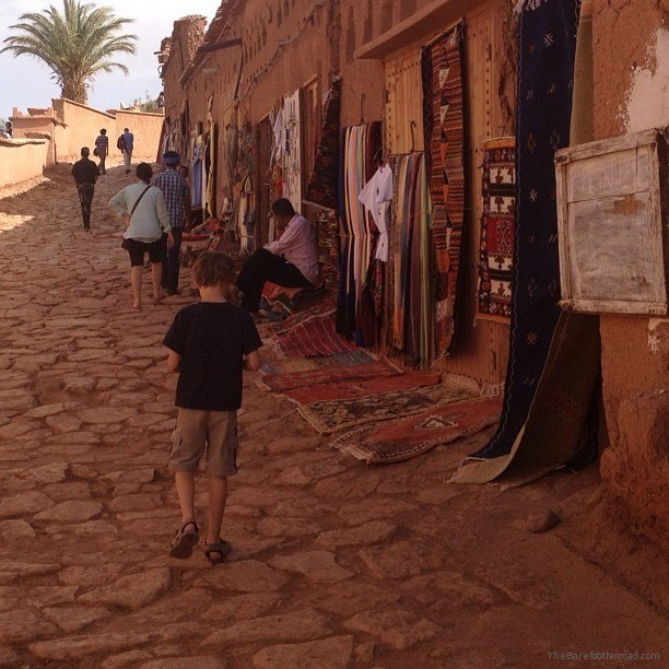 Our little man walking the streets of Ait Benhaddou Kasbah, Morocco
