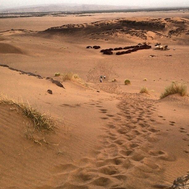 The long walk back to camp Sahara Morocco