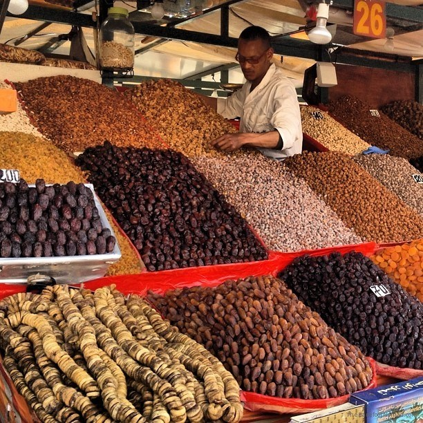 Fresh dates at stall 26 in the souks of Marrakesh