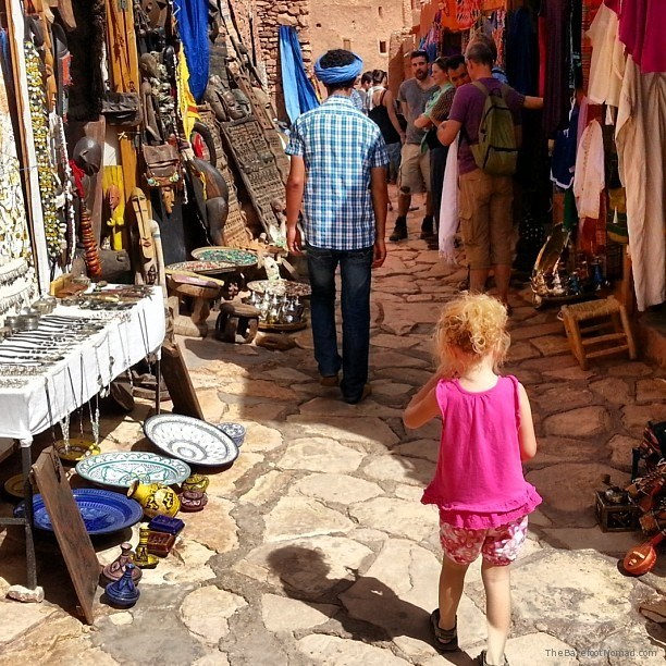 Jordan and our guide Idir in the streets of Ait Benhaddou Kasbah, Morocco