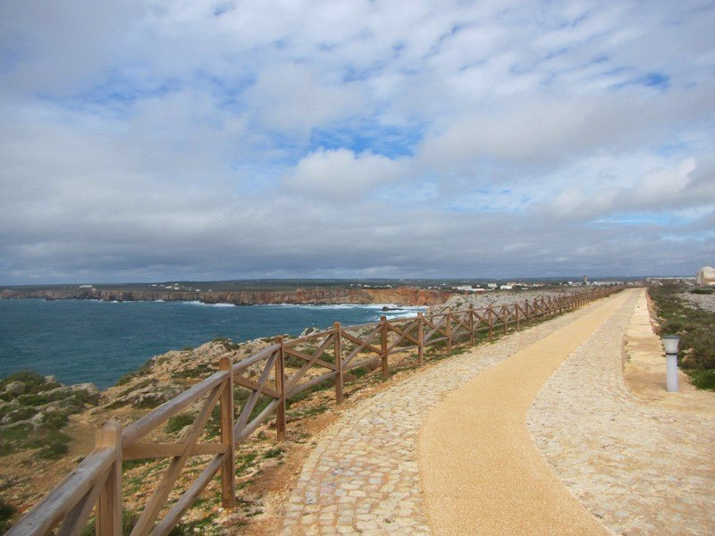 Sagres Point Pathway with clouds and cliffs