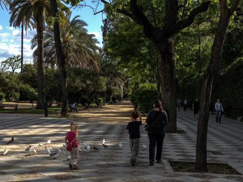 Walking through the gardens of  Paseo Catalina de Ribera