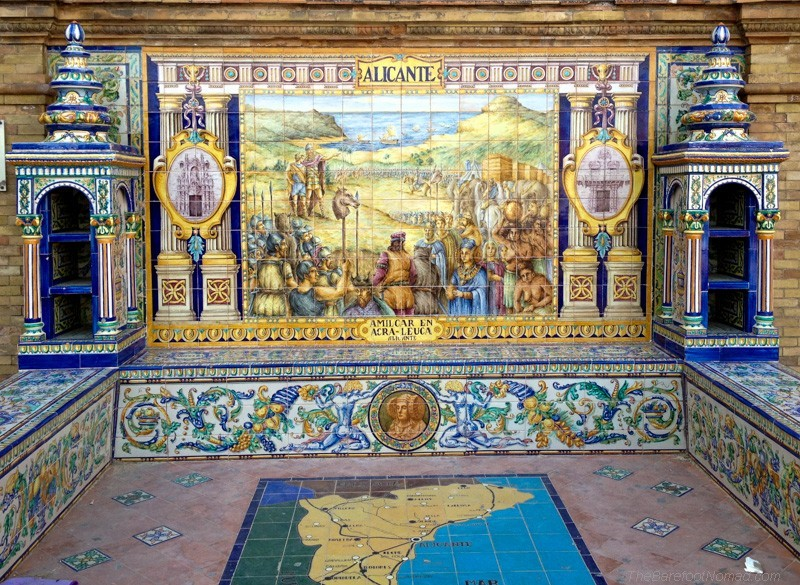 Alicante tiles at the Plaza de Espana