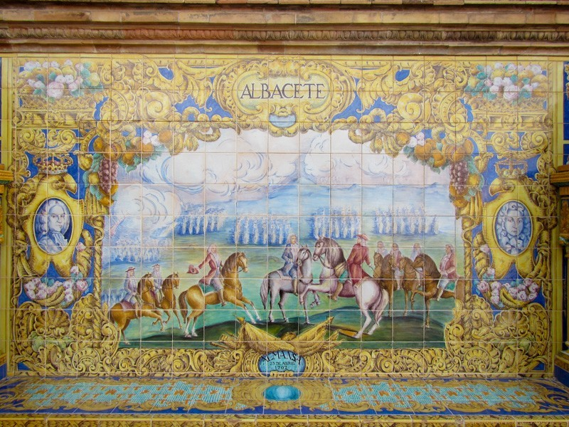 Detailed tiles at the Plaza de Espana