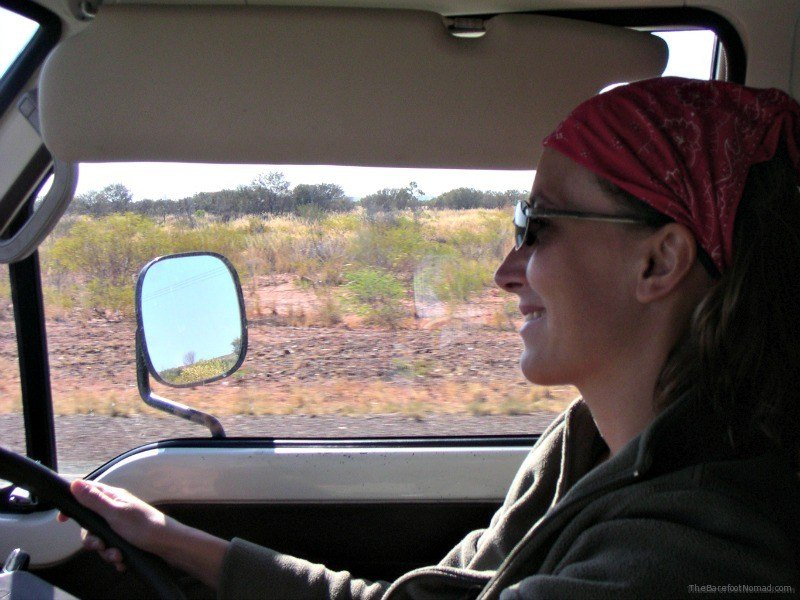 Micki Driving Our Van in Australia