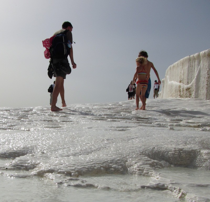 Climbing the sometimes steep hillside of Pamukkale