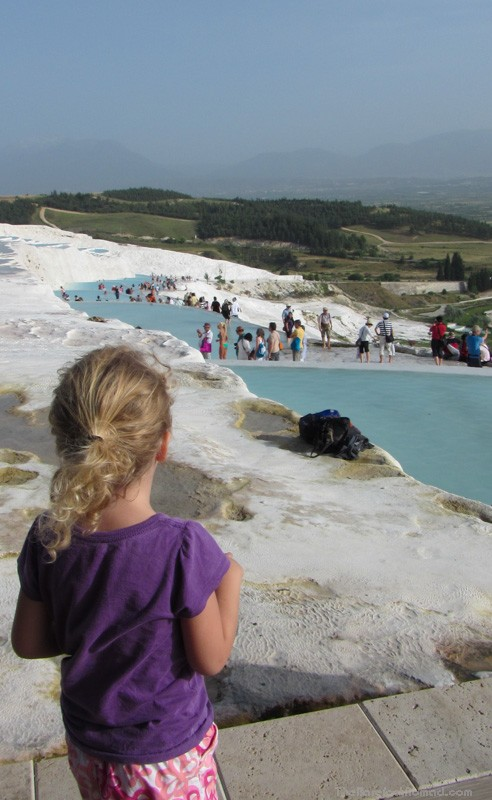 Looking down on the hot water pools of Pamukkale from the Hierapolis entrance