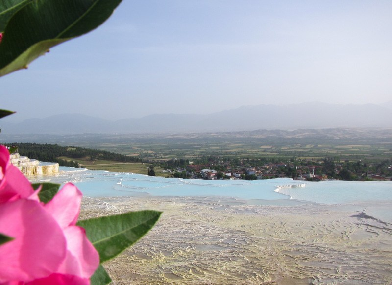 Looking down from the hot water pools of Pamukkale