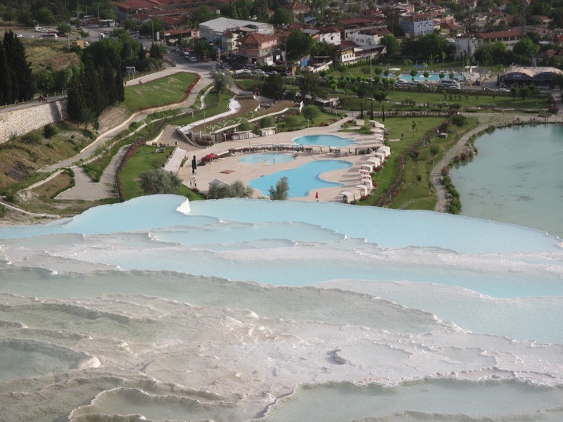 Looking down on the swimming pools beside Pamukkale Natural Park