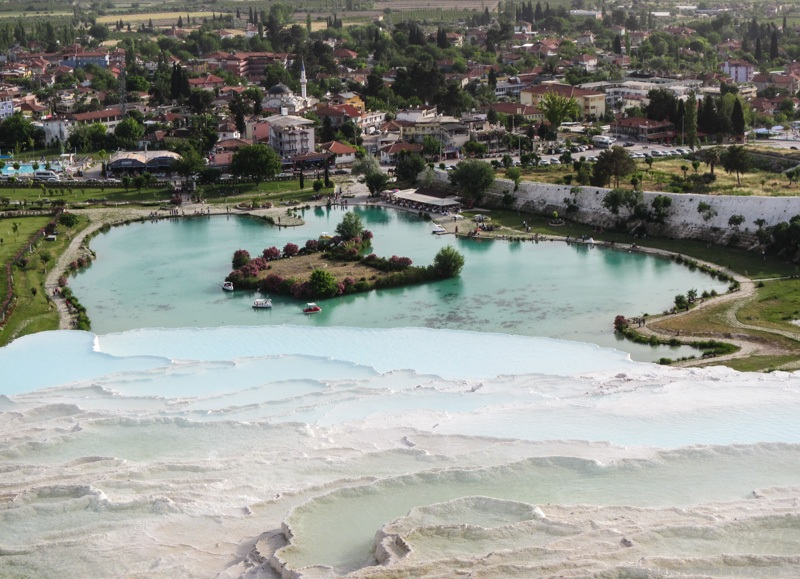 Looking down on Pamukkale Natural Park from the Travertines