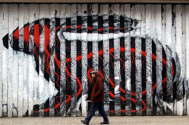 Rabbit by Belgian street artist Roa by Leigh Harries