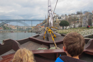 View over the bow on the Douro River in Porto