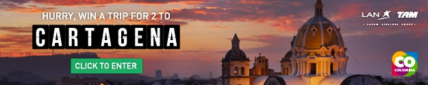 Win a Trip to Cartagena Columbia with LAN Airlines Banner