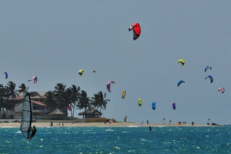 Lots of kiteboards at windblown Cabarete