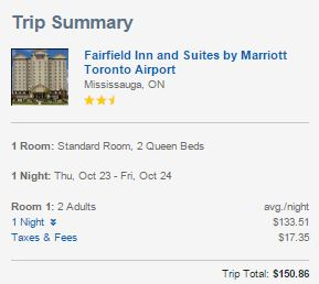 Expedia Travel Pony comparison Toronto with tax