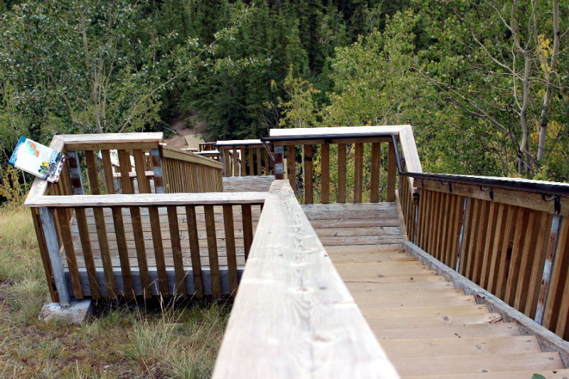 A view down the long, long flight of stairs at Five Finger Rapids  in the Yukon