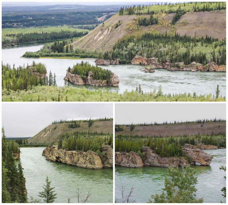Picture of  Five Finger Rapids in the Yukon from Klondike HIghway and up close