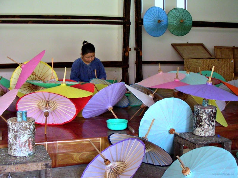 Paper umbrellas being made in Chiang Mai Thailand