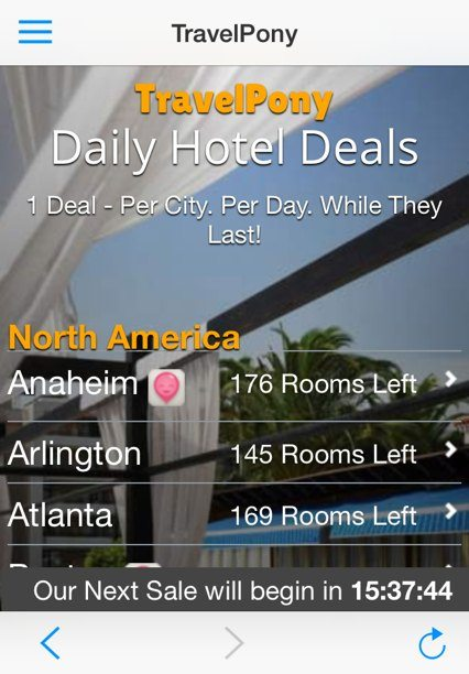 Travel Pony app Daily Hotel Deals Choices