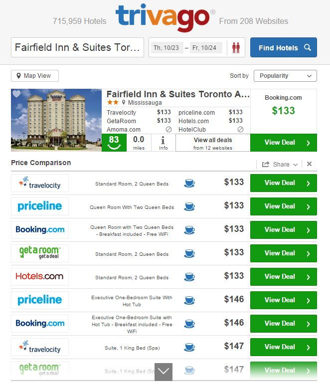 Screenshot of Trivago Fairfield Inn